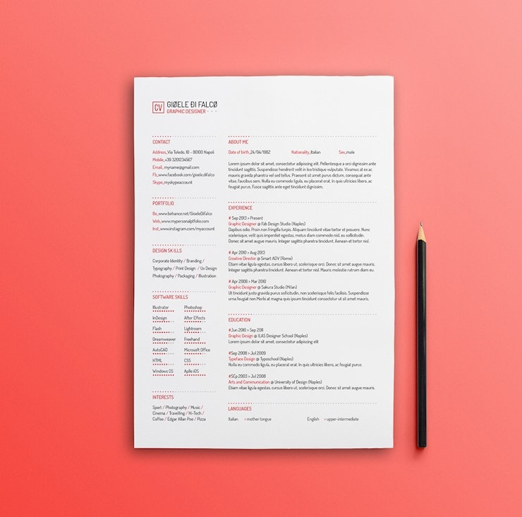 red-resume-template