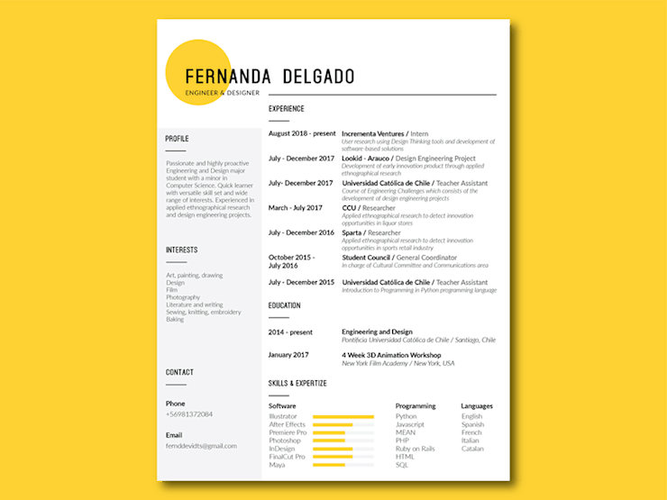resume-design-yellow