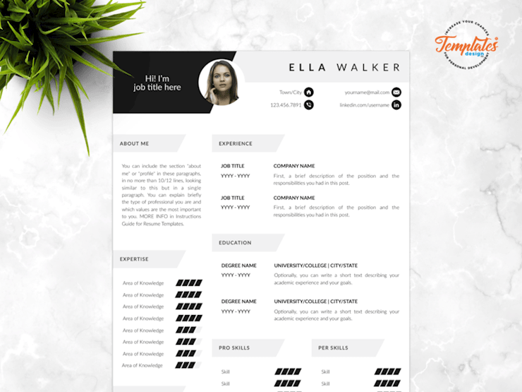 resume-template-for-word-and-pages-ella-walker