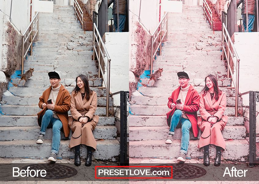 Matte Pink Preset: A matte pink photo of a couple sitting on the steps